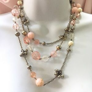 Jewelry - Long Necklace Pink and Pearl Silver Beads